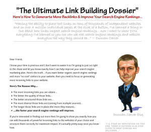 LinkBuildingDossier.com Link Building Tutorial full size home page image