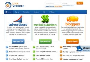 LinkVehicle.com Backlink Network home page full-size image