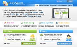 PostsGenius.com Backlink Network home page full-size image