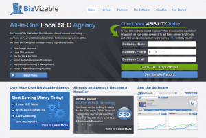 BizVizable.com Local Marketing Service home page full size image