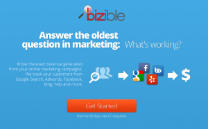 Bizible.com Local Marketing Software home page full size image
