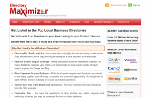 DirectoryMaximizer.com Local Business Directory Listing Service page full size image