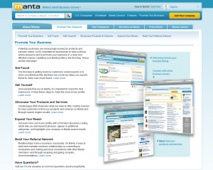 Manta.com business listing page full size image