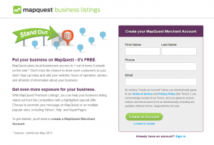 MapQuest.com business listing page full size image