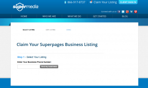 SuperPages.com business listing page full size image