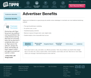 Tippr.com merchant advertising benifits page full size image