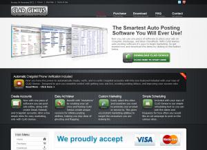 CladG.com Craigslist Posting Software home page full size image