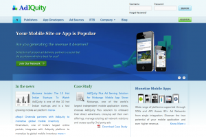 Adiquity.com Mobile Ad Network home page full size image