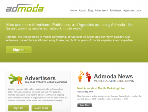 Admoda.com Mobile Advertising Network home page full size image