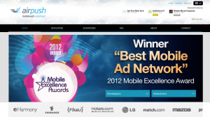Airpush.com Mobile Ad Network home page full size image