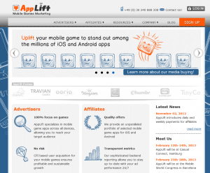 AppLift.com Mobile Affiliate Network home page full size image