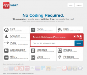AppMakr.com Mobile App Design Software home page full size image