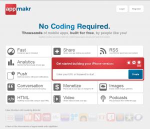 AppMakr.com Mobile App Design Software home page full size image
