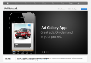 Apple iAd Mobile Advertising Network home page full size image