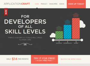 ApplicationCraft.com Mobile App Design Software home page full size image