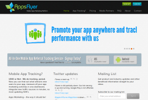 AppsFlyer.com Mobile App Marketing Platform home page full size image