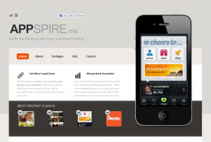 APPSPIRE.me Mobile App Marketing Services home page full size image