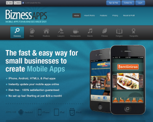 BiznessApps.com Mobile App Design Software home page full size image