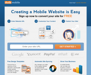 DudaMobile.com Mobile Website Design Software page full size image