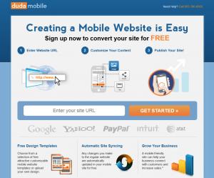 DudaMobile.com Mobile Website Design Software page full size image