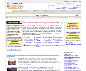 EmailWire.com Press Release Distribution service home page full size image