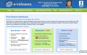 eReleases.com Press Release Distribution service page full size image