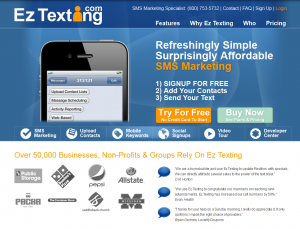 EzTexting.com SMS/Text Marketing Software home page full size image