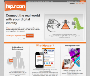 Hipscan.com QR Code Generator home page full size image