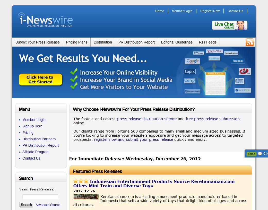Newswire.com Press Release Distribution service home page full size