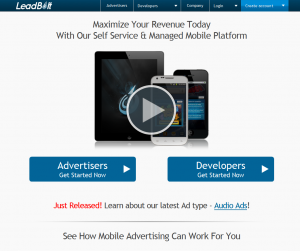 LeadBolt.com Mobile Advertising Network home page full size image