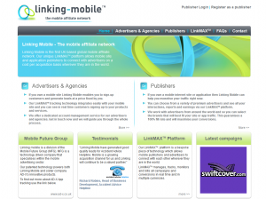 LinkingMobile.com Mobile Affiliate Network home page full size image