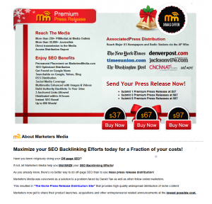 MarketersMedia.com Press Release Distribution service home page full size image