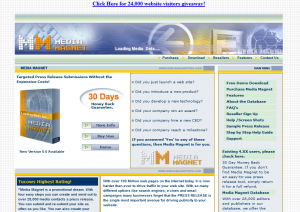 MediaMagnetPro.com Press Release Software home page full size image