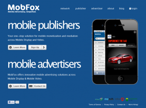 MobFox.com Mobile Ad Network home page full size image
