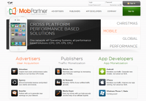 MobPartner.com Mobile Affiliate Network home page full size image