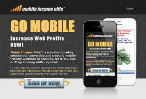 MobileIncomeElite.com Mobile Website Design Software home page full size image