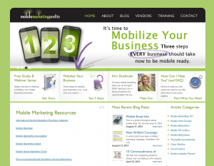 MobileMarketingProfits.com Mobile Marketing Training home page full size image