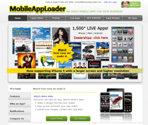 MobileAppLoader.com Mobile App Service home page full size image