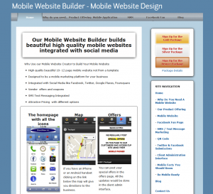 MobilityWebsites.com Mobile Website Design Software home page full size image