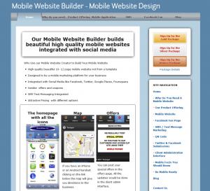 MobilityWebsites.com Mobile Website Design Software home page full size image
