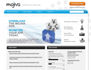 Mojiva.com Mobile Advertising Network home page full size image