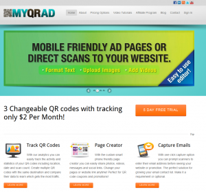 MyQRAd.com Mobile QR Code Generator home page full size image