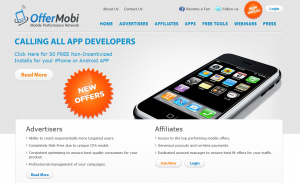 OfferMobi.com Mobile Affiliate Network home page full size image