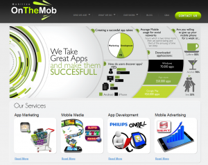 OnTheMob.com Mobile App Marketing Services home page full size image