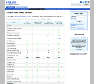 PRlog.org Press Release Distribution service pricing page full size image