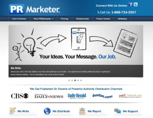 PRMarketer.com Full Service Press Release service home page full size image