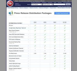PR.com Press Release Distribution service page full size image