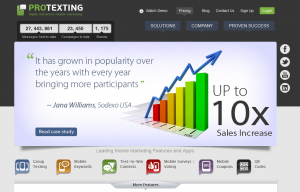 ProTexting.com SMS/Text Marketing Software home page full size image