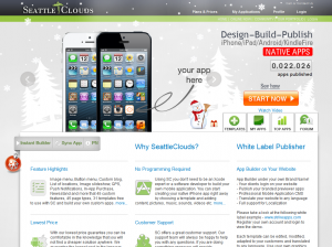 SeattleClouds.com Mobile App Builder home page full size image
