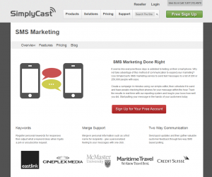 SimplyCast.com SMS Marketing platform page full size image